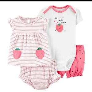 NWT Carters Strawberry Summer Outfit Set 4 piece